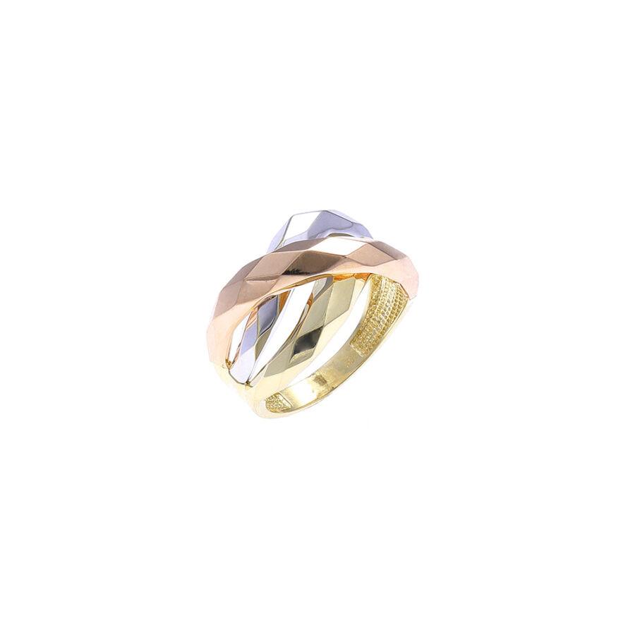 """""""Bilbao"""" háromszínű 14 karátos arany gyűrű (58-as méret)"""