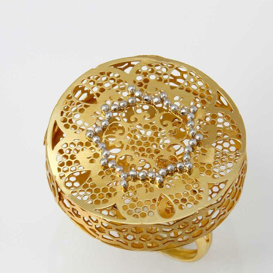 Sárga 14 karátos arany lézervágott gyűrű (59-es méret)