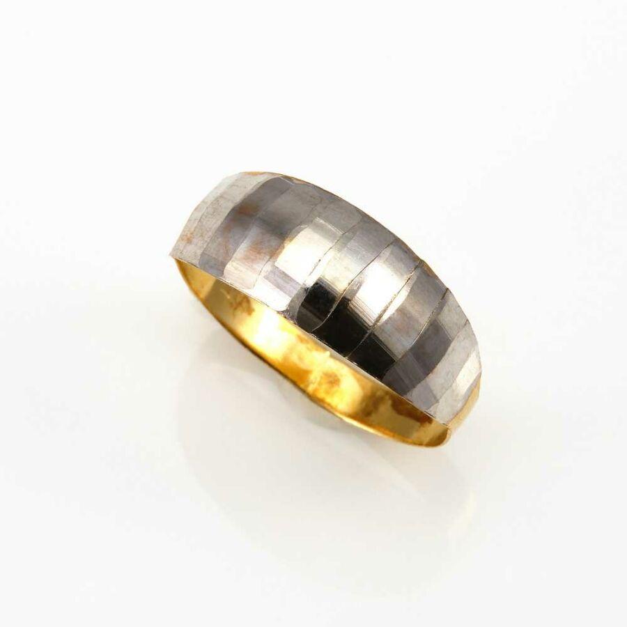 Fehér-sárga 14 karátos arany női lemez gyűrű (61-es méret)