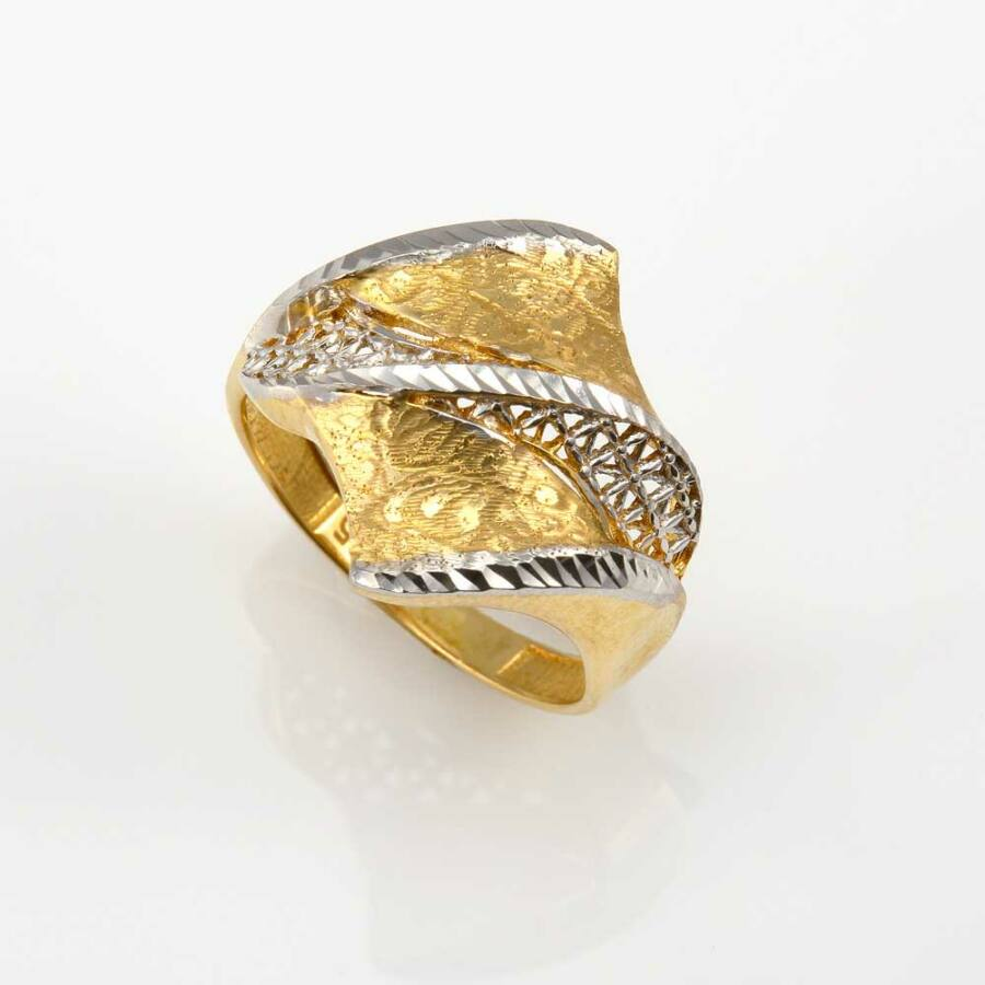Sárga 14 karátos arany női gyűrű, vésett és áttört mintával (61-es méret)