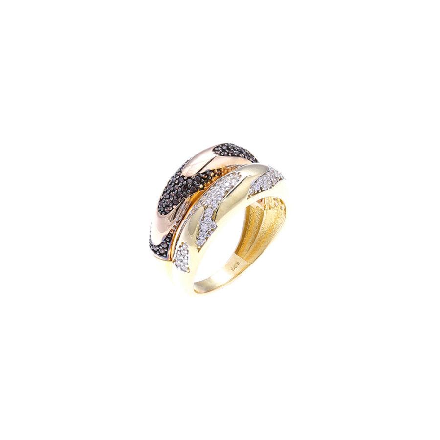 """""""Casa Milá"""" sárga-rozé 14 karátos arany sokköves gyűrű (59-es méret)"""