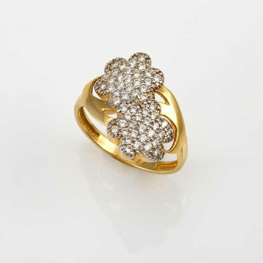 Két virág sárga 14 karátos arany köves gyűrű (57-es méret)