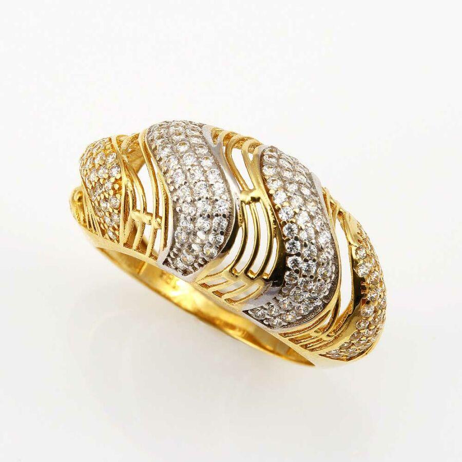 Aiolosz sárga 14 karátos arany köves női gyűrű (58-as méret)