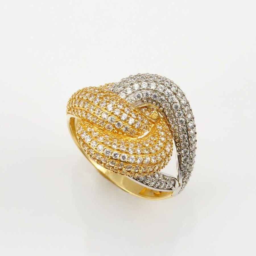 Mágikus csomó sárga-fehér női 14 karátos arany gyűrű (56-os méret)