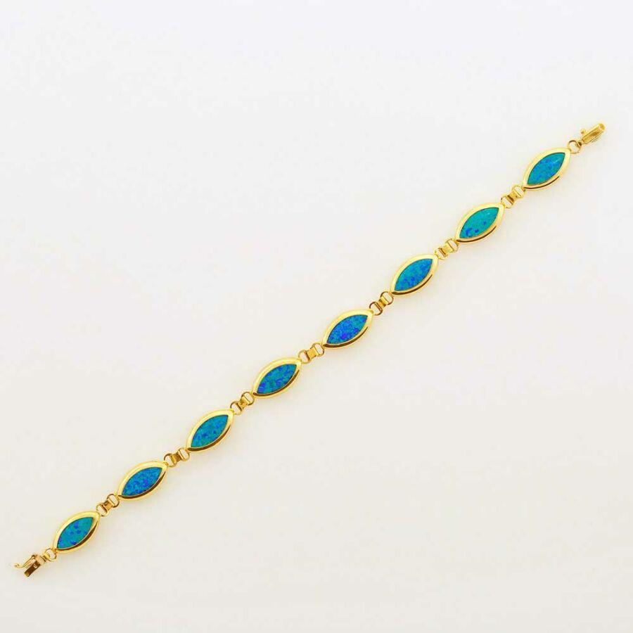 14 karátos arany karkötő opál, 21 cm
