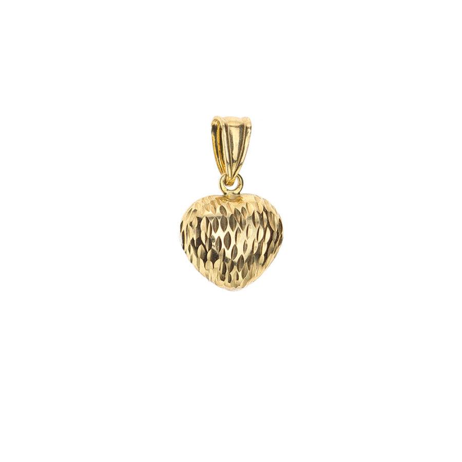 Sárga aranyból készült üreges szív medál vésett mintával