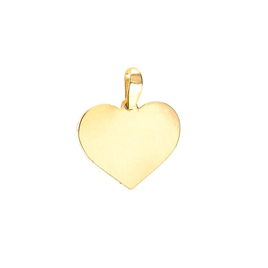 Véshető sárga arany lap szív medál, kicsi