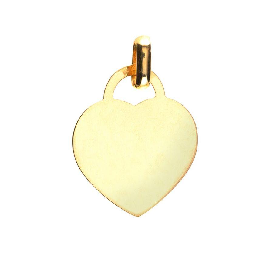 Véshető sárga arany lap szív medál, közepes