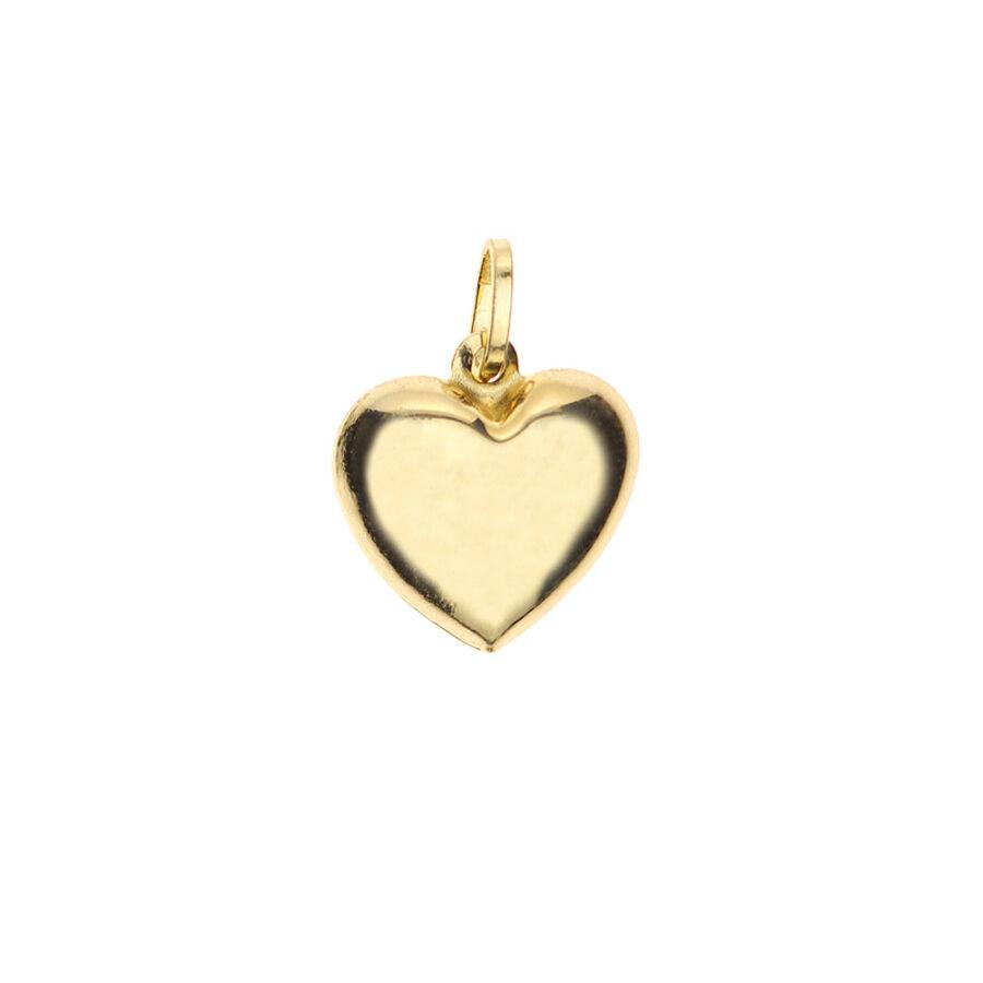 Sima, kecsesen domború sárga arany szív medál 1,75 g