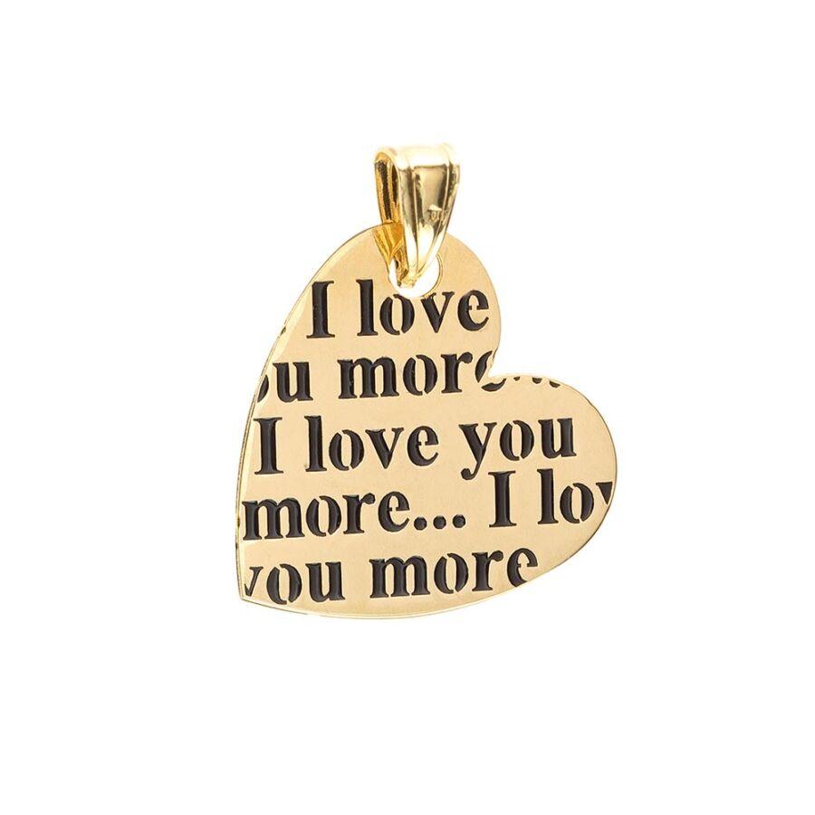 I Love You More feliratos sárga arany lap szív medál, részútos függesztékkel
