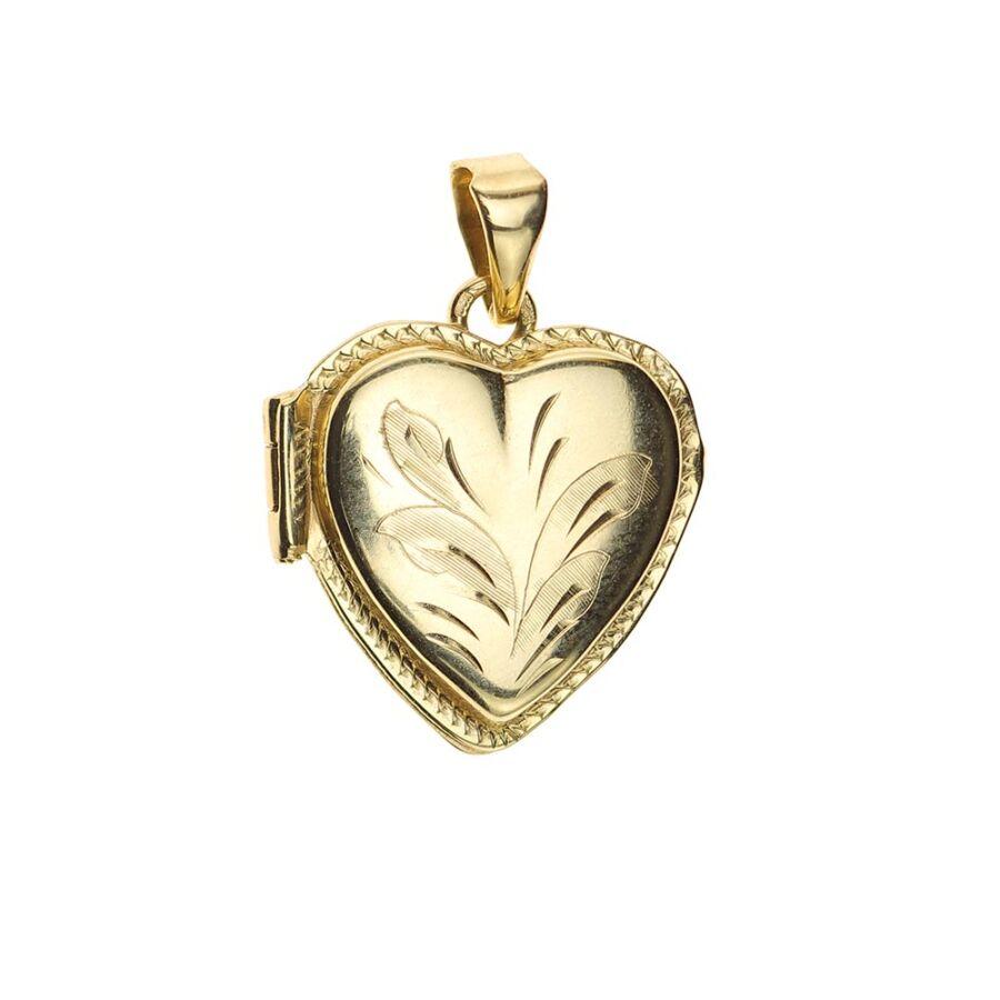 Sárga arany nyitható szív medál vésett előlappal