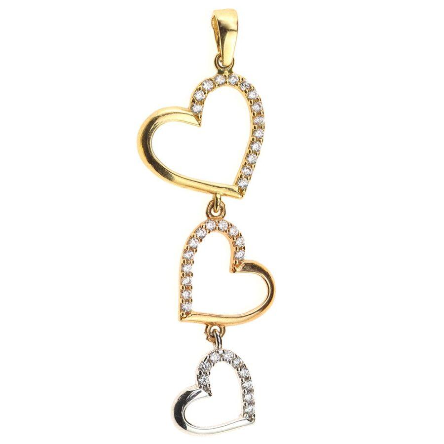 """""""Három szív"""" trikolor 14 karátos arany szív medál 1,29 g"""