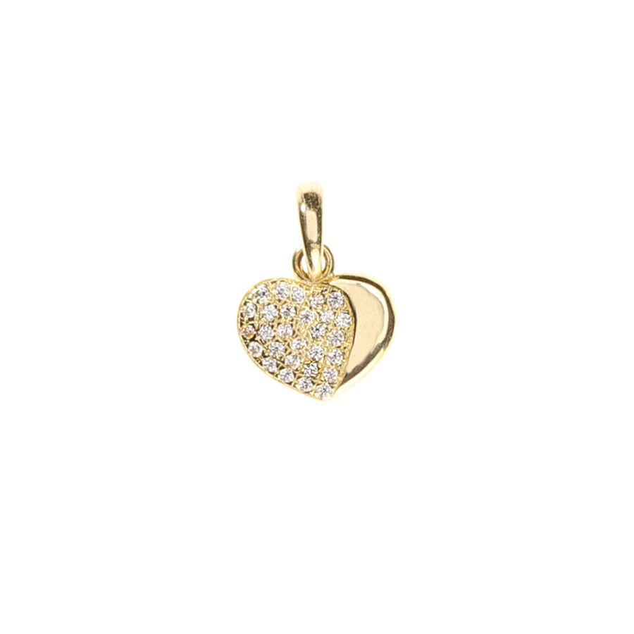 Nagy részén sokköves sárga arany szív medál