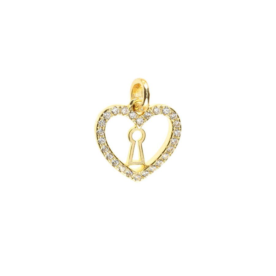 Sokköves sárga arany szív medál kulcslyuk mintával