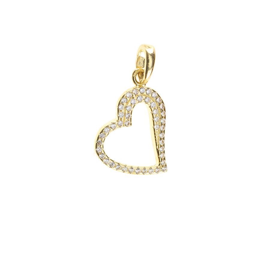 """""""Heart of Beauty """"sárga 14 karátos arany sokköves szív medál 1,31 g"""
