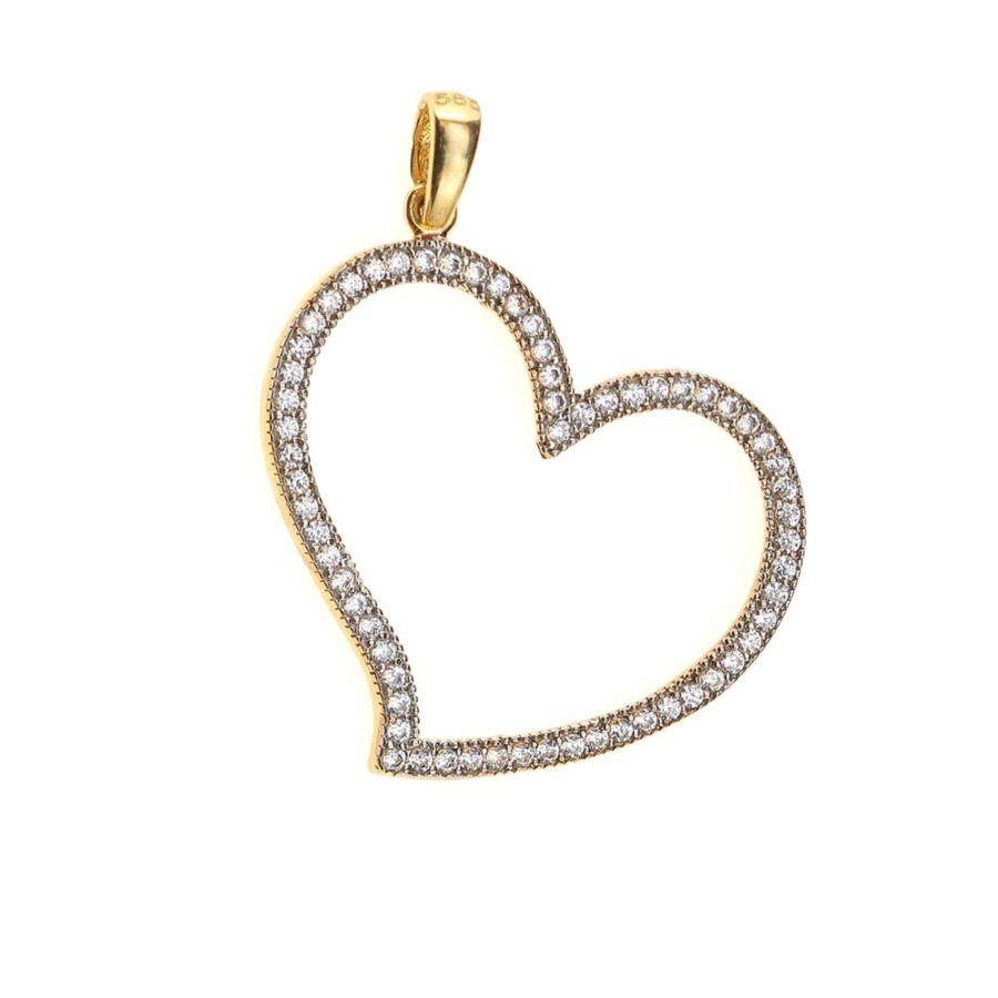 Sárga arany nagy szív medál fehér cirkónia kövekkel