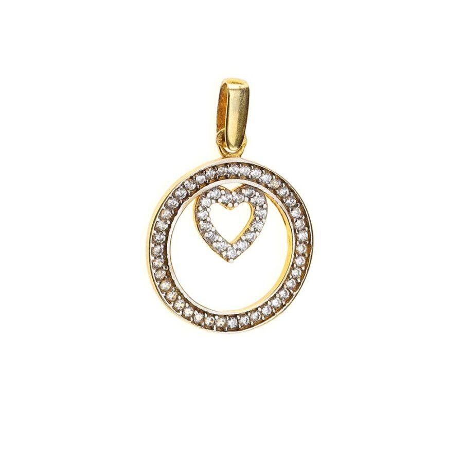 Körbezárt szív sárga arany szív medál sok fehér cirkónia köves díszítéssel
