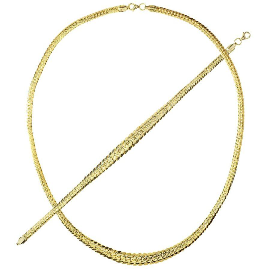 Cobra 14 karátos sárga arany átmenetes női nyaklánc-karlánc szett