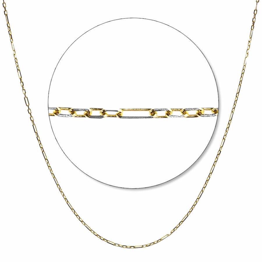 Hatlapú sárga-fehér arany váltott anker lánc