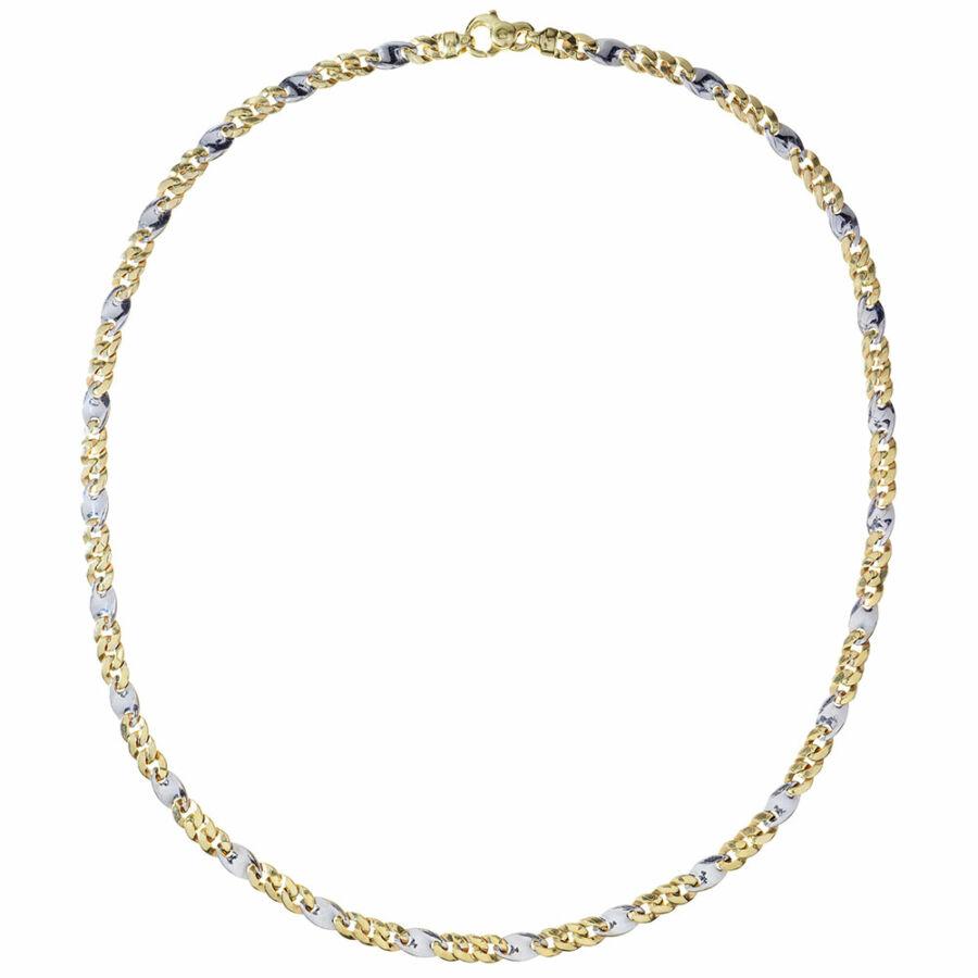 Marzi Gold 14 karátos sárga-fehér ovális pancer-fantázia nyaklánc férfiaknak