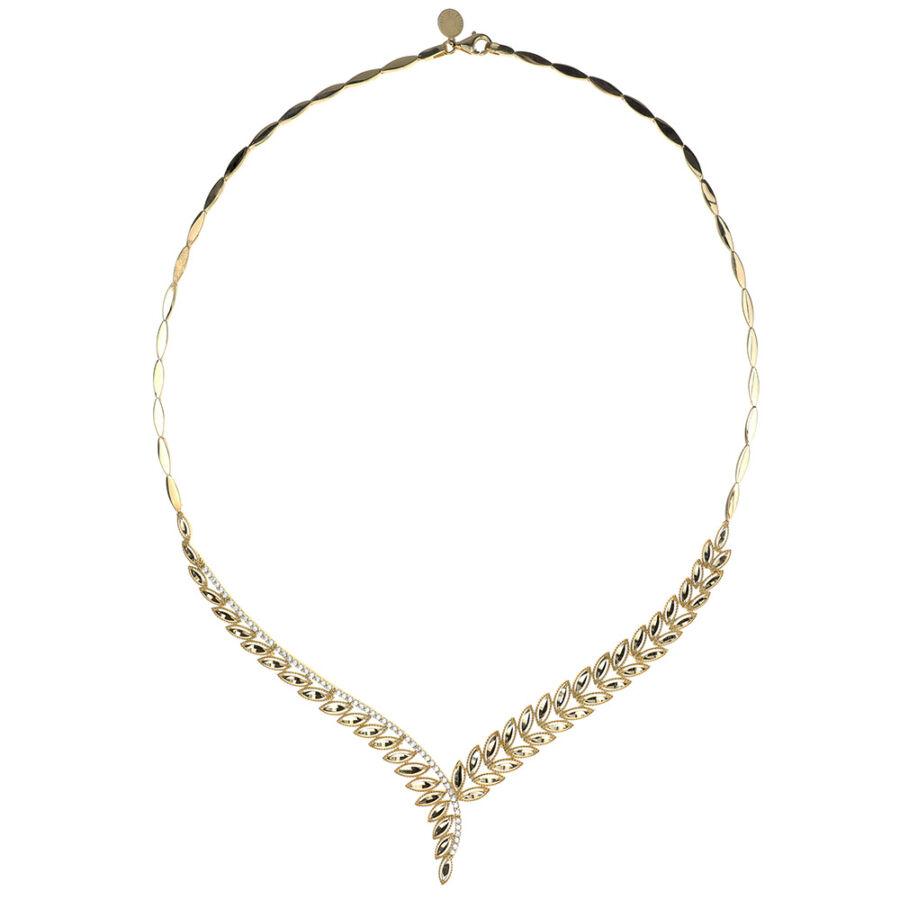 Levélmintás, fehér cirkónia kövekkel és véséssel díszített nyakék (collier) 14 karátos sárga aranyból.
