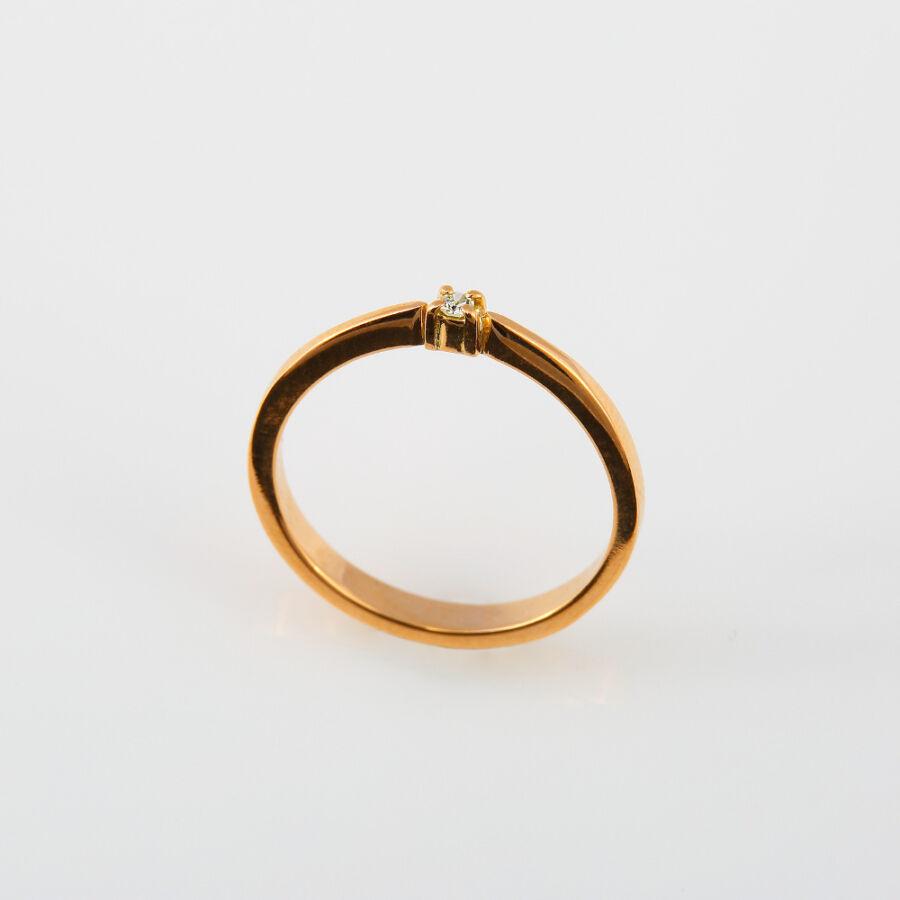 14 karátos (rozé) vörös arany gyémánt gyűrű achant csiszolású, 0,03 karátos kővel, 58-as méret