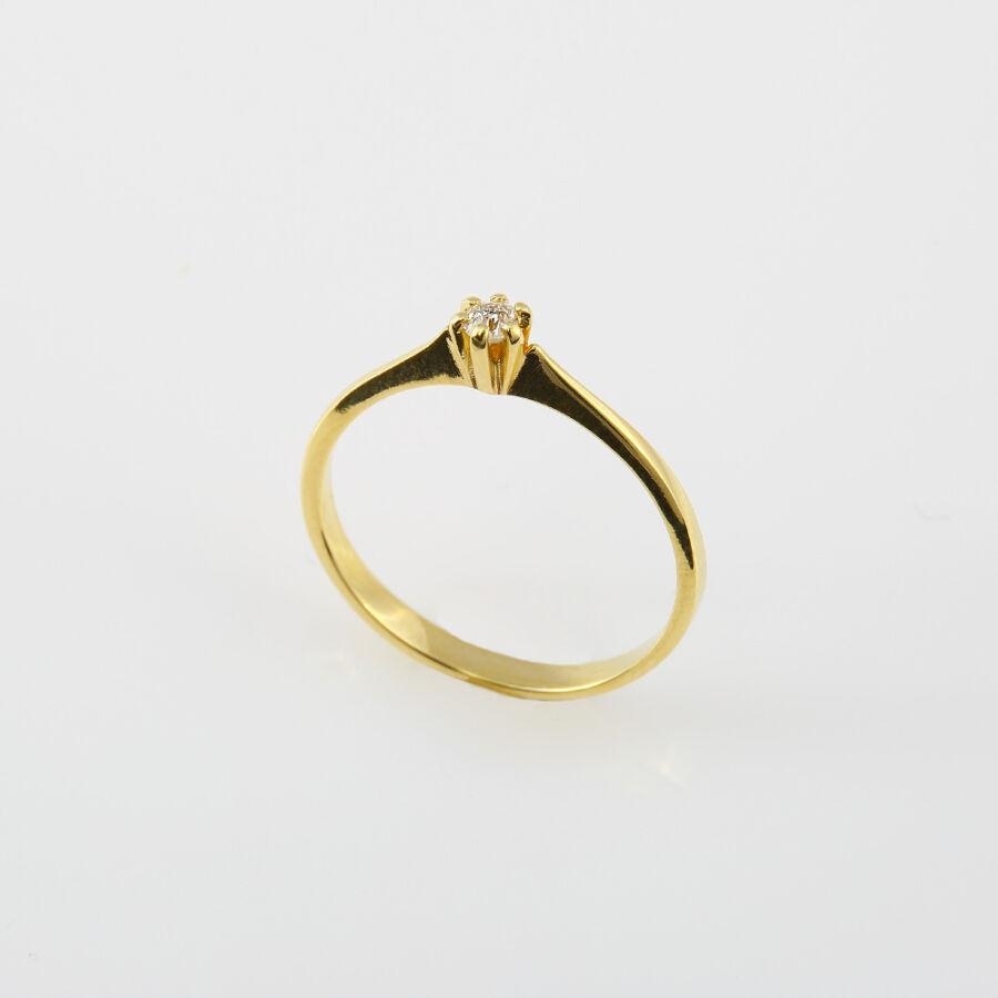 Sárga arany szoliter gyémánt gyűrű hatkarmos foglalattal