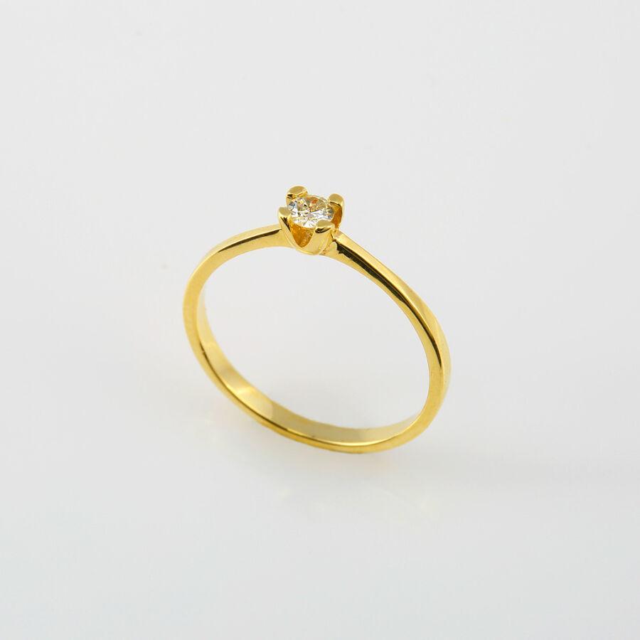 Sárga arany gyémánt gyűrű briliáns csiszolású kővel, 52-es méret