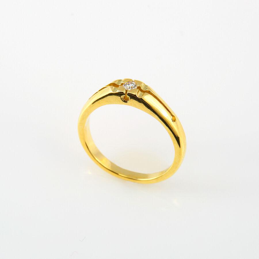 Sárga arany gyémánt gyűrű briliáns csiszolású kővel, 54-es méret