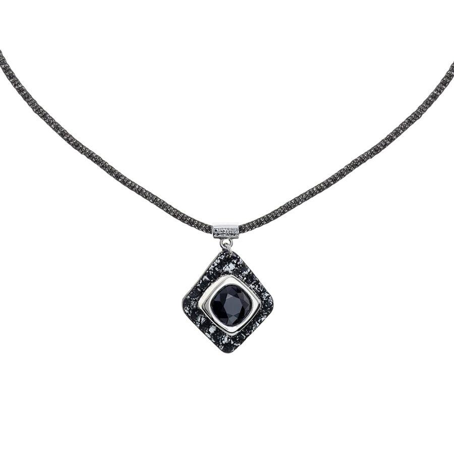 Cango & Rinaldi Cube fekete-ezüst bőrös, ezüstszín fémdíszes és fekete láncos, JetBlack kristály köves nyaklánc