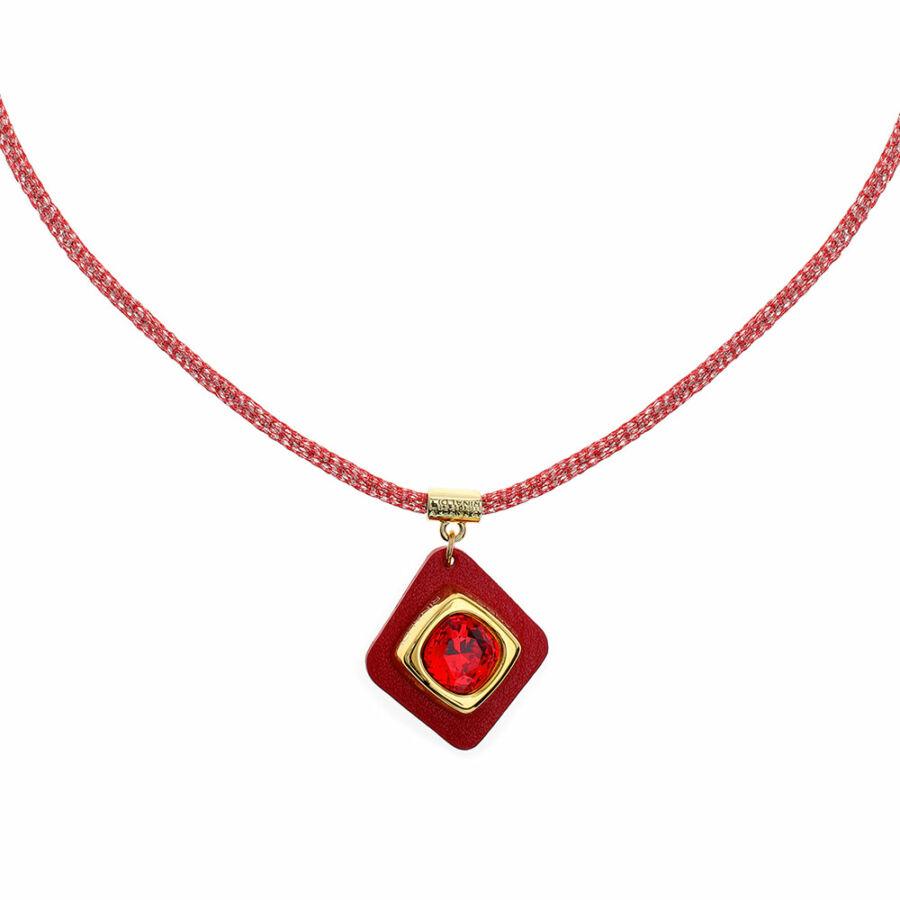 Cango & Rinaldi Cube bordó bőrös, aranyszín fémdíszes és piros láncos, Burgundy-vörös kristály köves nyaklánc