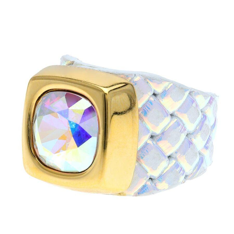 Cango & Rinaldi Cube irizáló színű gyűrű AB színű kővel