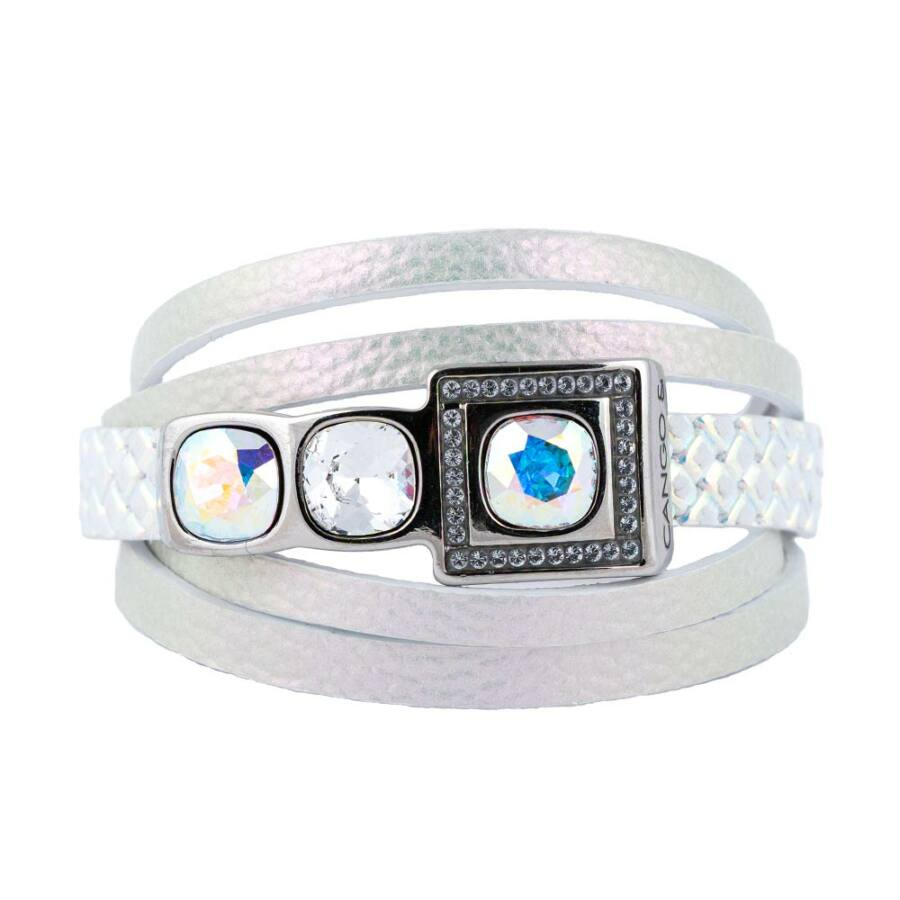 Cango & Rinaldi Cube ezüstszín fémdíszes, AB és kristály köves, színjátszó színű karkötő