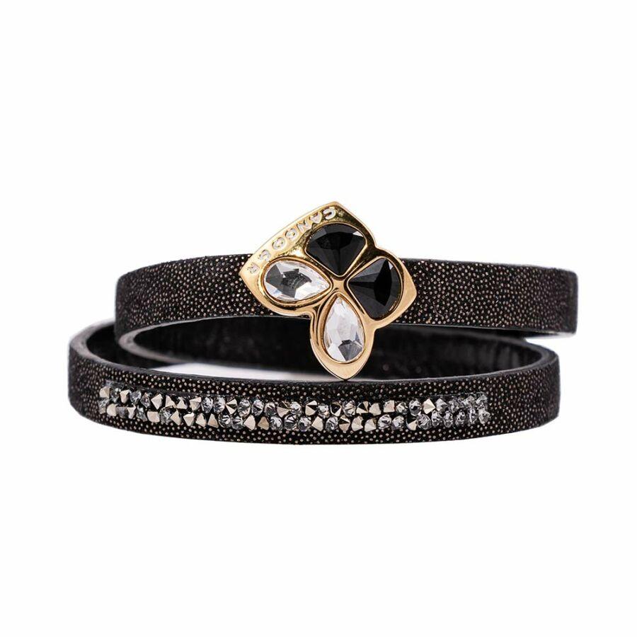 Cango & Rinaldi Secret Garden fekete színű pontozott mintás bőr karkötő kisköves, kristály díszes rátéttel