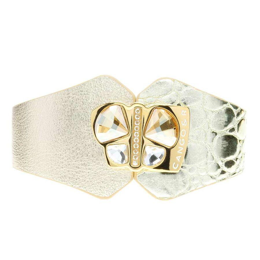 Cango & Rinaldi Secret Garden arany színű, kétféle mintás bőr karkötő nagy pillangós kristály díszes rátéttel