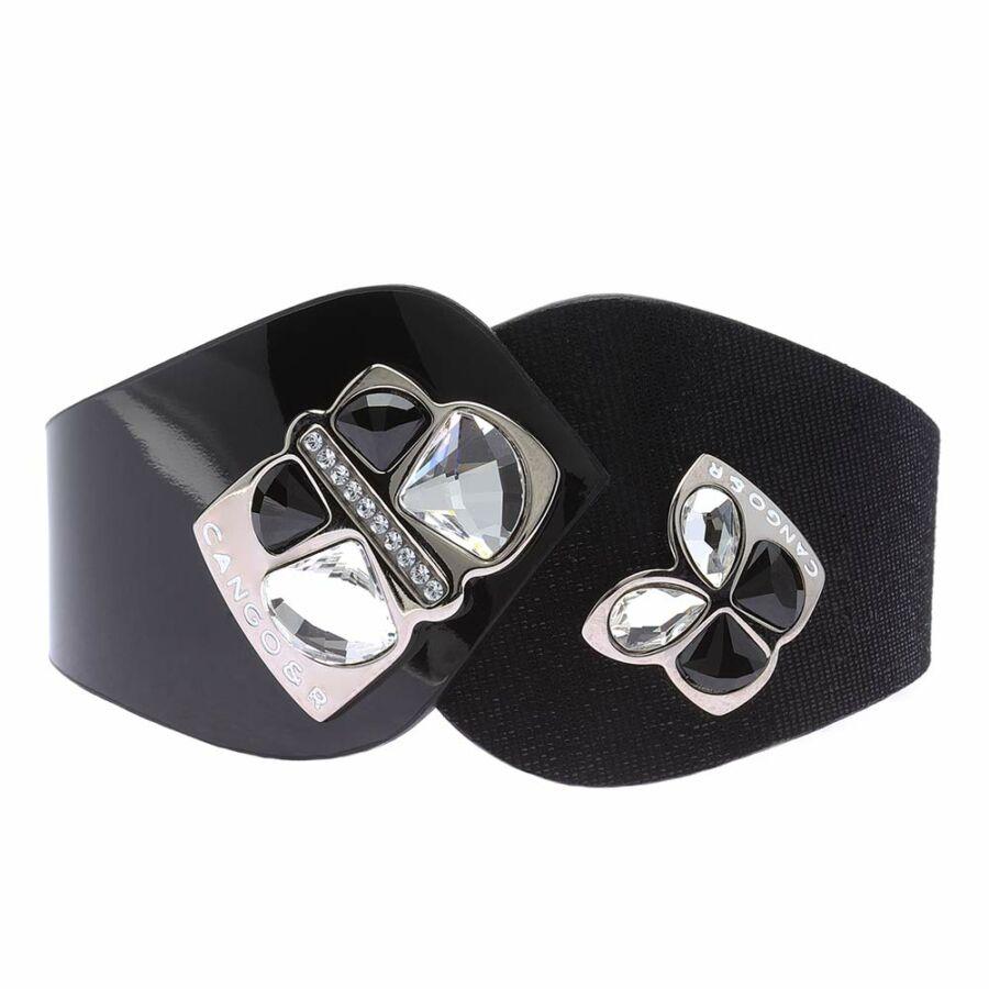 Cango & Rinaldi Secret Garden fekete színű, mintás és lakkbőr karkötő két nagy pillangós kristály díszes rátéttel