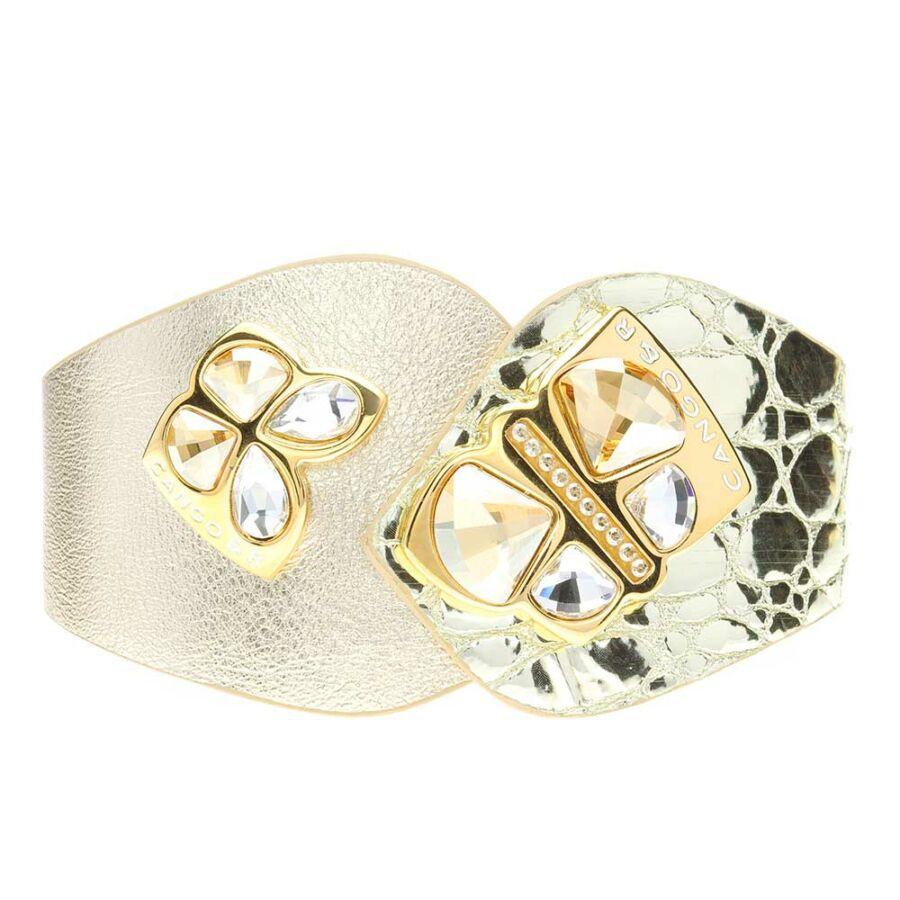Cango & Rinaldi Secret Garden arany színű, piton mintás és matt bőr karkötő két nagy pillangós kristály díszes rátéttel