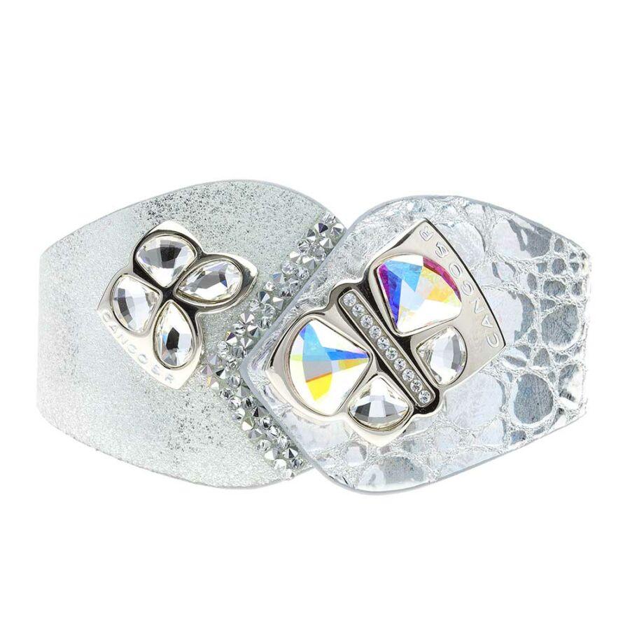 Cango & Rinaldi Secret Garden ezüst színű, piton mintás és matt bőr karkötő két nagy pillangós kristály díszes rátéttel és kis kövekkel