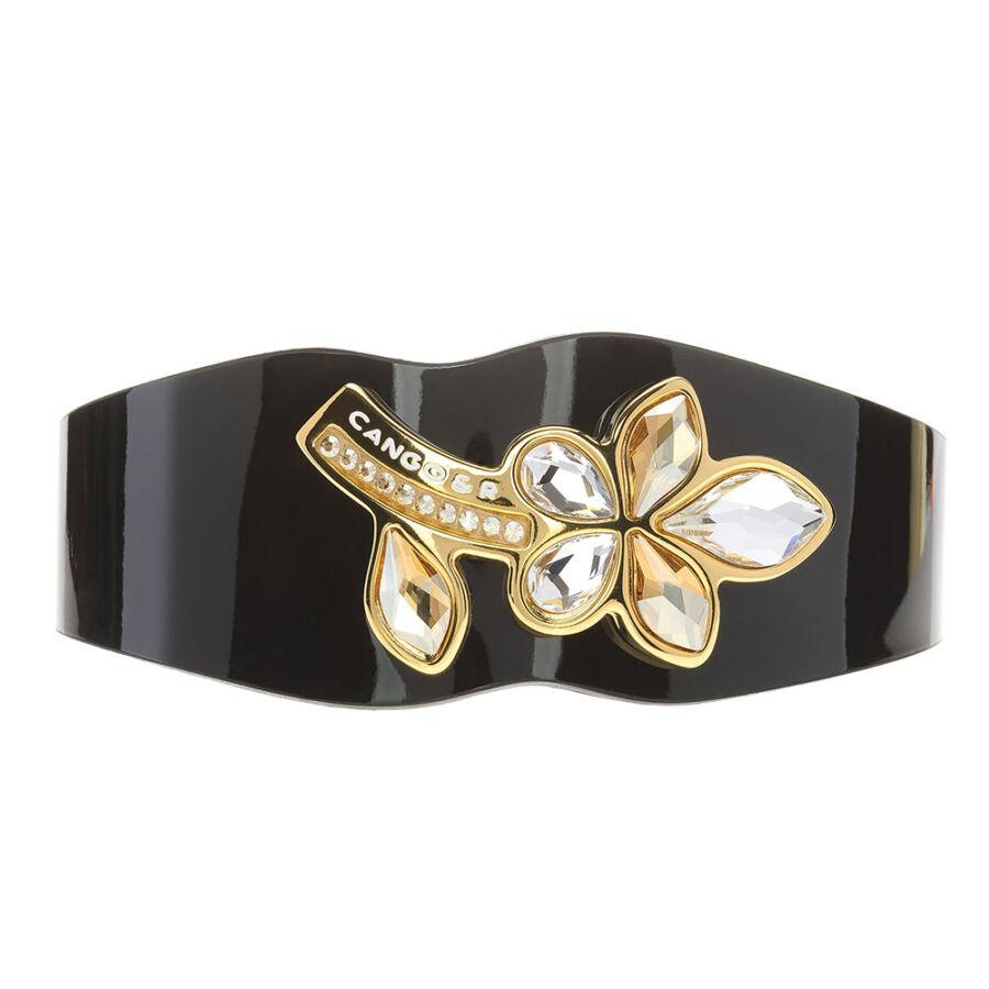 Cango & Rinaldi Secret Garden bézs fekete lakkbőr karkötő arany színű, virág alakú kristály díszes rátéttel