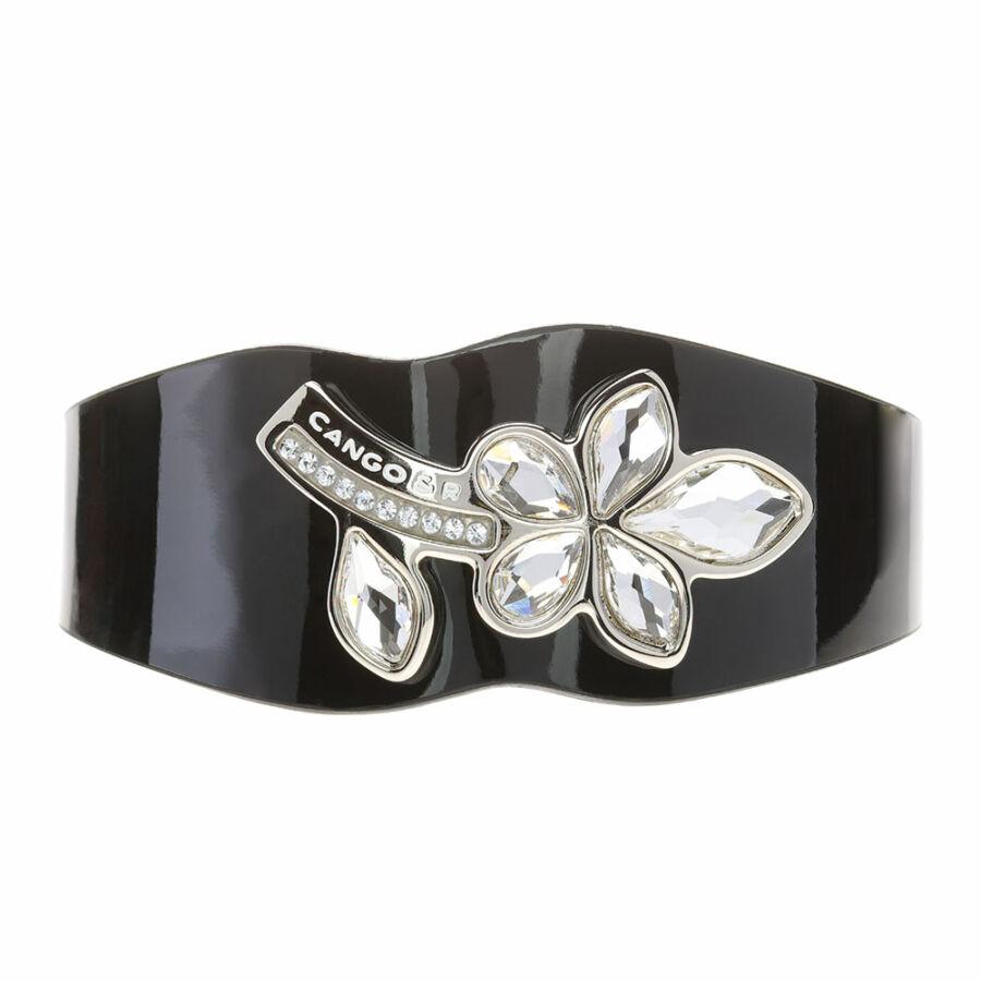 Cango & Rinaldi Secret Garden fekete lakkbőr karkötő nikkel színű virág alakú kristály díszes rátéttel