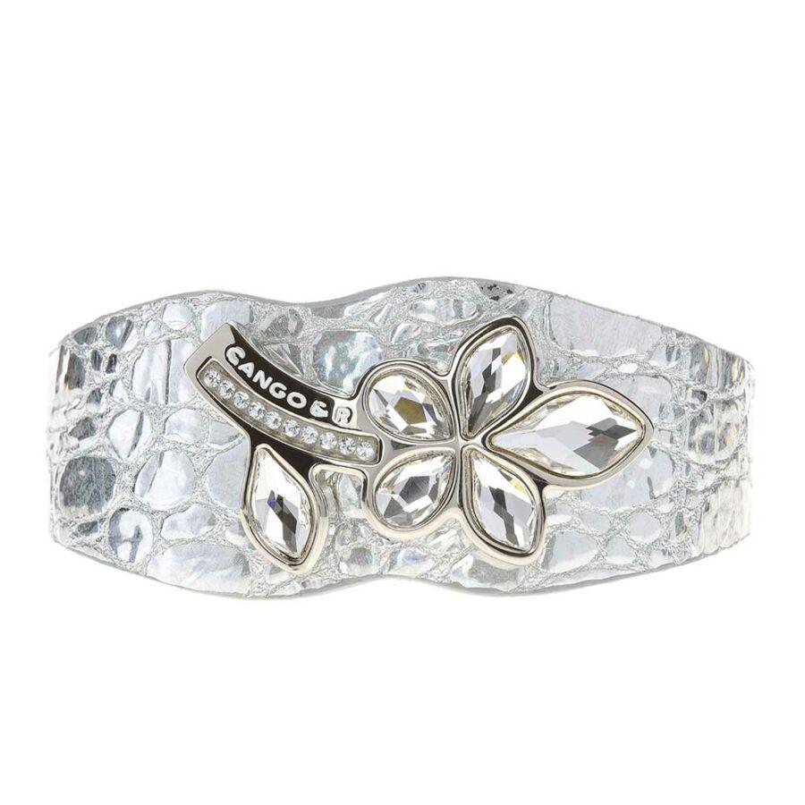 Cango & Rinaldi Secret Garden piton mintás ezüst bőr karkötő nikkel színű virág alakú kristály díszes rátéttel