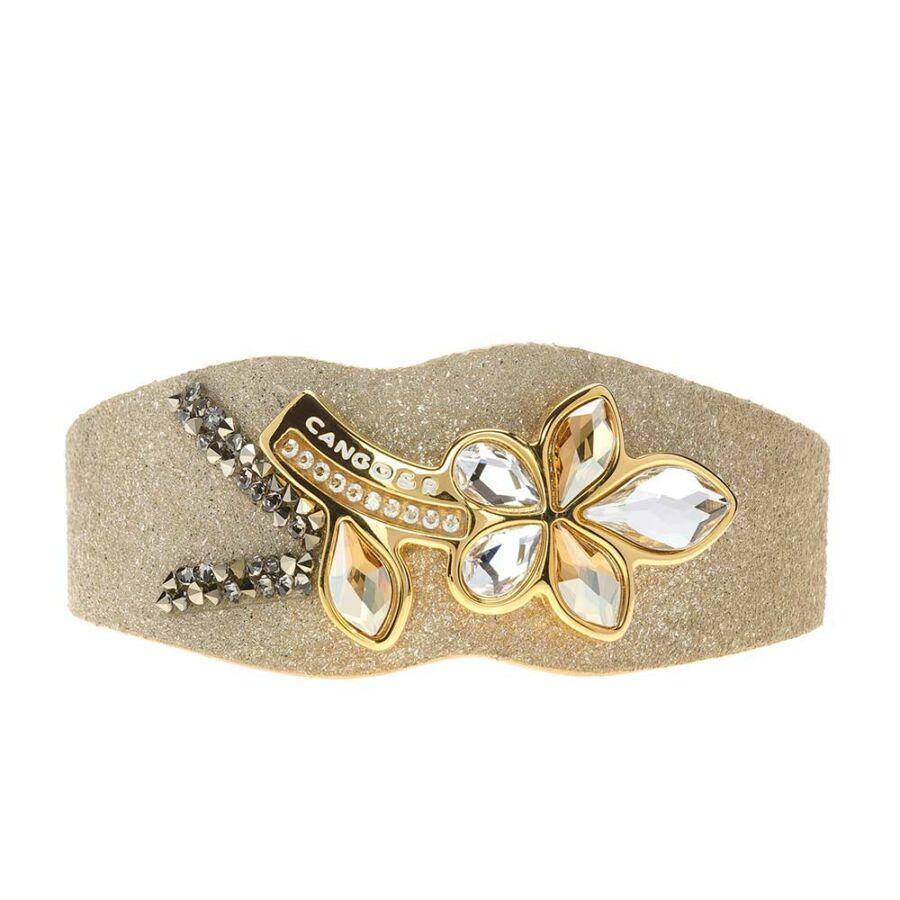 Cango & Rinaldi Secret Garden matt arany bőr karkötő arany színű virág alakú kristály díszes rátéttel