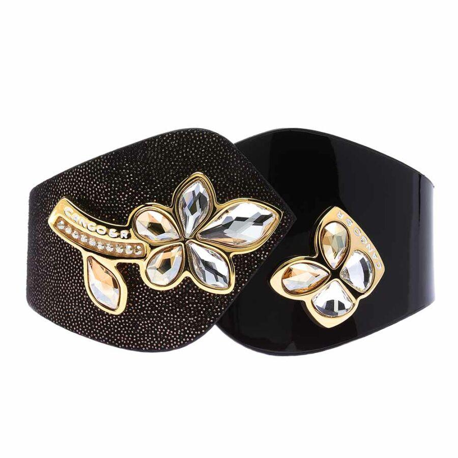 Cango & Rinaldi Secret Garden fekete színű, pontozott mintás és lakkbőr karkötő virág és pillangó alakú kristály díszes rátéttel