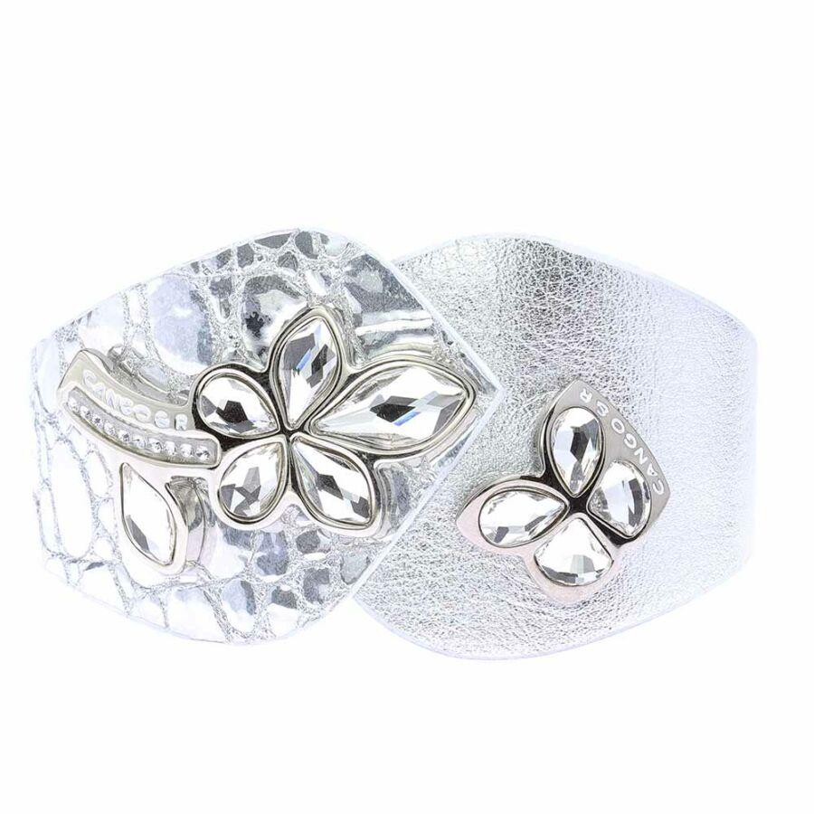 Cango & Rinaldi SECRET GARDEN mintás etzüst színű karkötő nikkel színű virágos-pillangós dísszel