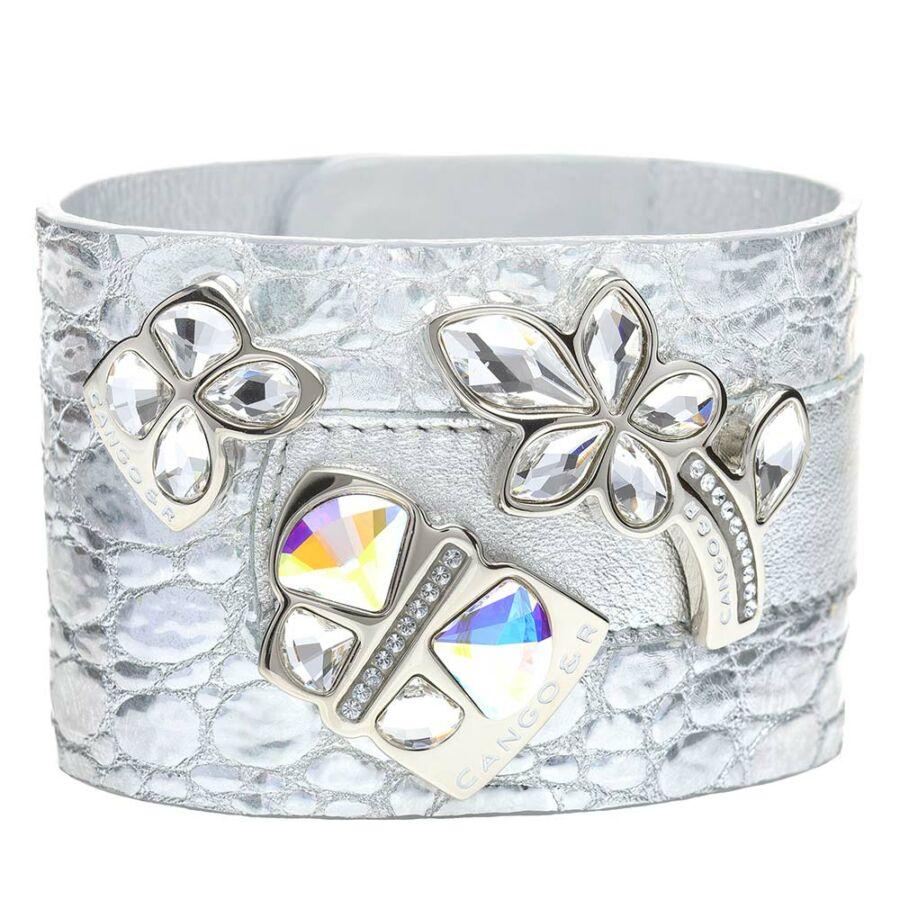 Cango & Rinaldi Secret Garden ezüst színű, piton mintás és matt bőr karkötő két nagy pillangós és virágos kristály díszes rátéttel