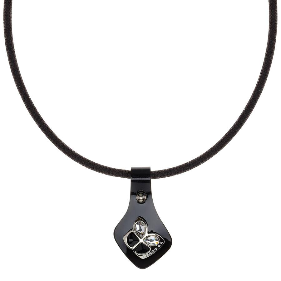 Cango & Rinaldi Secret Garden fekete lakkbőr nyaklánc nikkel színű színű, pillangó alakú dísszel