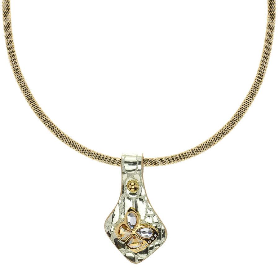 Cango & Rinaldi Secret Garden arany piton bőr nyaklánc arany színű, pillangó alakú dísszel