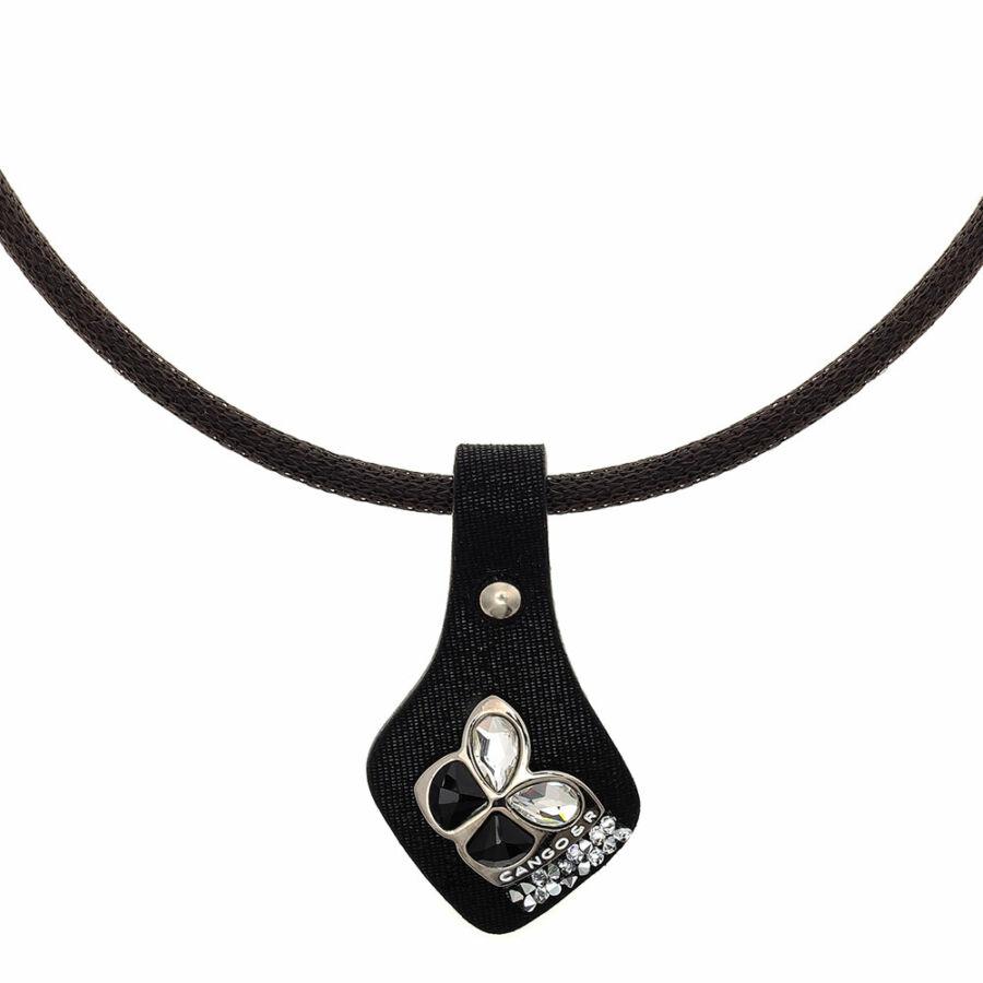 Cango & Rinaldi Secret Garden mintás fekete bőr nyaklánc nikkel színű, pillangó alakú dísszel és kis kövekkel
