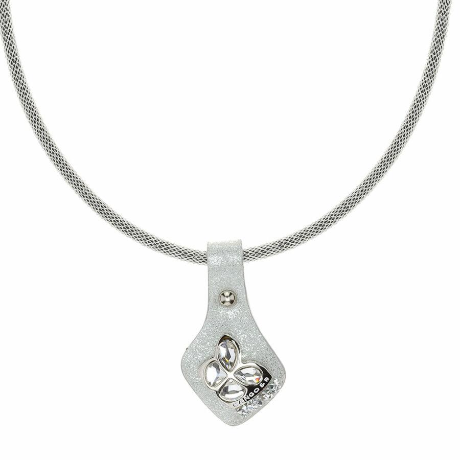 Cango & Rinaldi Secret Garden matt ezüst bőr nyaklánc nikkel színű, pillangó alakú dísszel és kis kövekkel