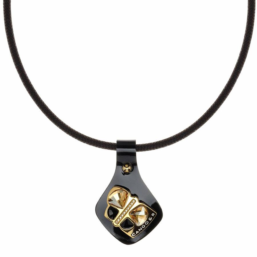 Cango & Rinaldi Secret Garden fekete lakkbőr nyaklánc arany színű, pillangó alakú dísszel
